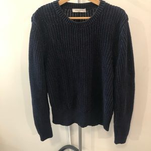 Sandro 100% Cotton Chunky Knit Navy Sweater